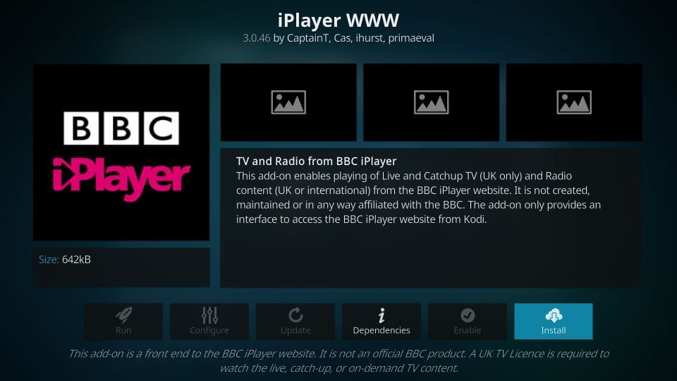installer iplayer www addon på kodi